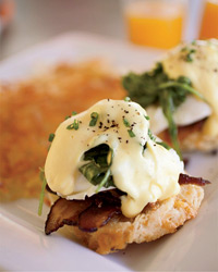 Eggs Benedict with Bacon & Arugula